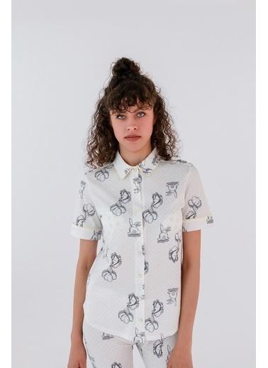 Hays Kadın Gömlek Model Kısa Kollu Penye Üst Gri